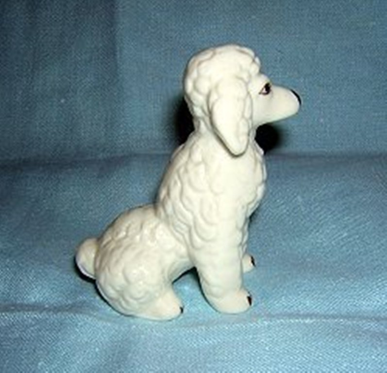 Curly white poodle porcelain dog figurine antique primitive look hc1279