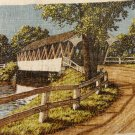 1975 Calendar towel with covered bridge by KayDee linen vintage hc3336