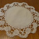 Set of 3 identical doilies ecru linen centers wide hand bobbin lace border hc3339