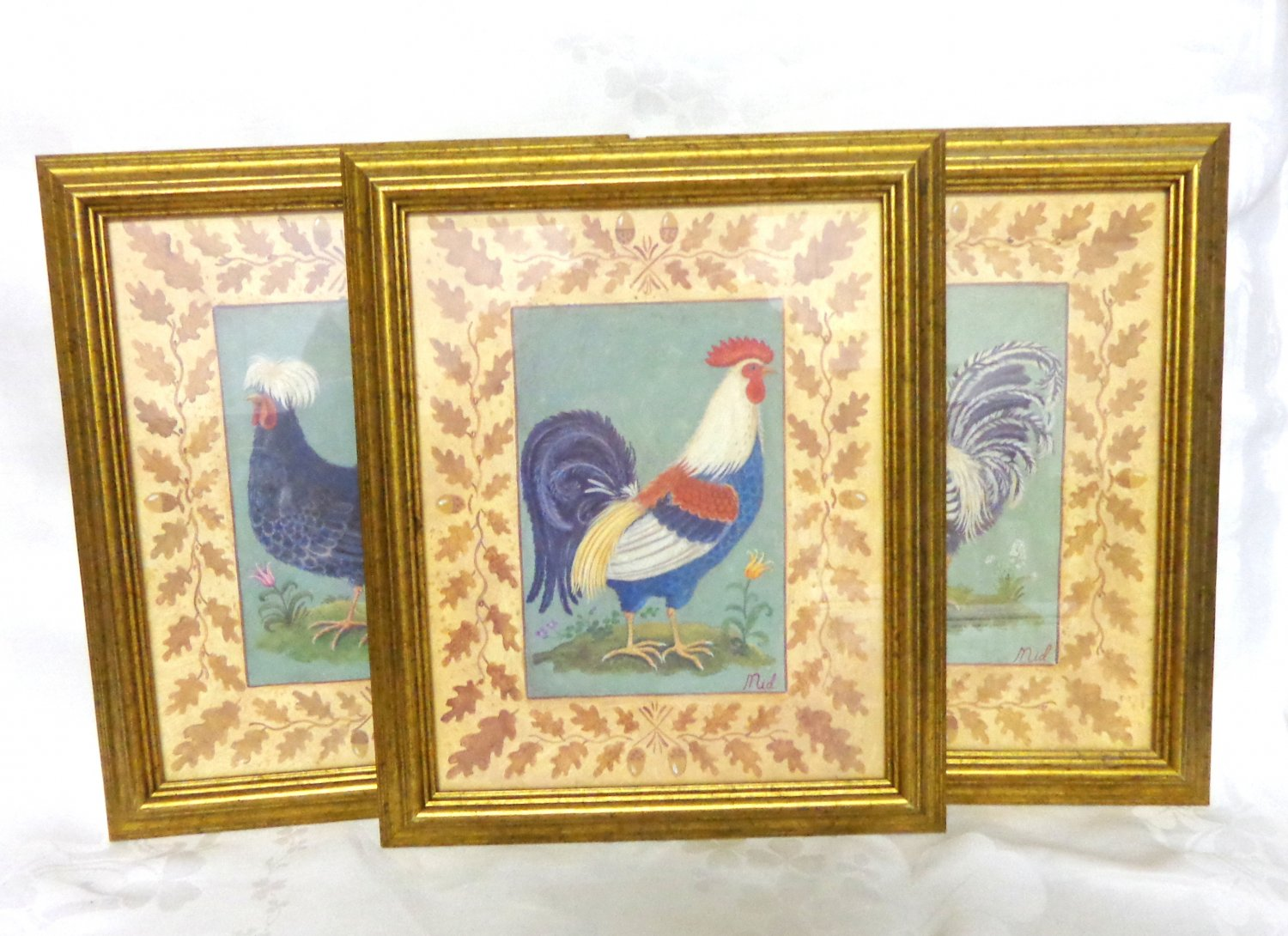 Set of three fancy rooster framed prints signed Mid hc3355