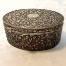Repousse steel box hinged lid oval silvered interior hc3356