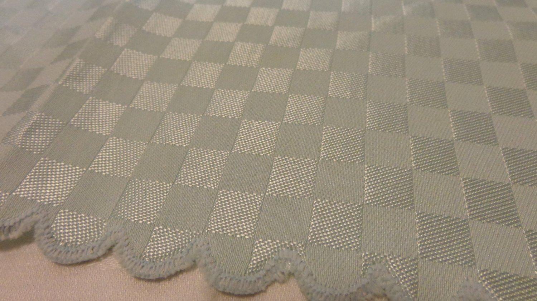 8 Jacquard weave napkins aqua scalloped edge vintage linens hc1407