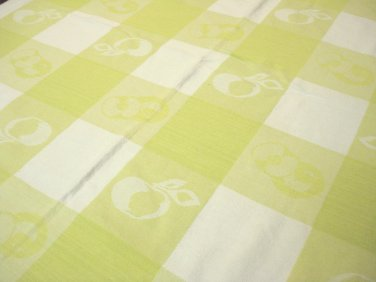 Lime and white check cotton tablecloth Jacquard woven 63 inches long Simons vintage hc3375