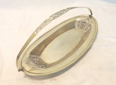 Art Deco bread or pastry serving tray silverplate English fold down handle EPNS vintage hc3384