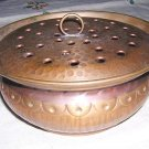 Arts & Crafts hammered copper bowl frog style lid hc1145