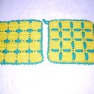 Pair of crocheted potholders hot pads green yellow reversible checks hc1374