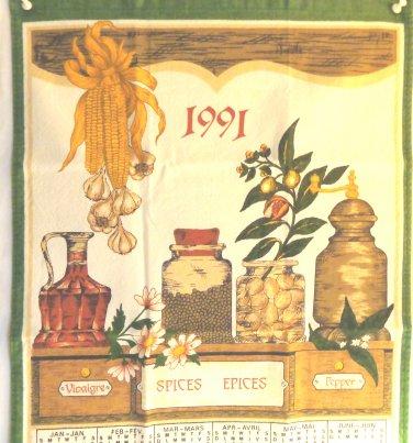 1991 cotton calendar towel spice rack with corn, garlic, spice grinder hc3396