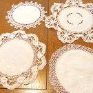 Lot of 4 antique linen cotton lace doilies various use under lamps or figurines antique  hc3403