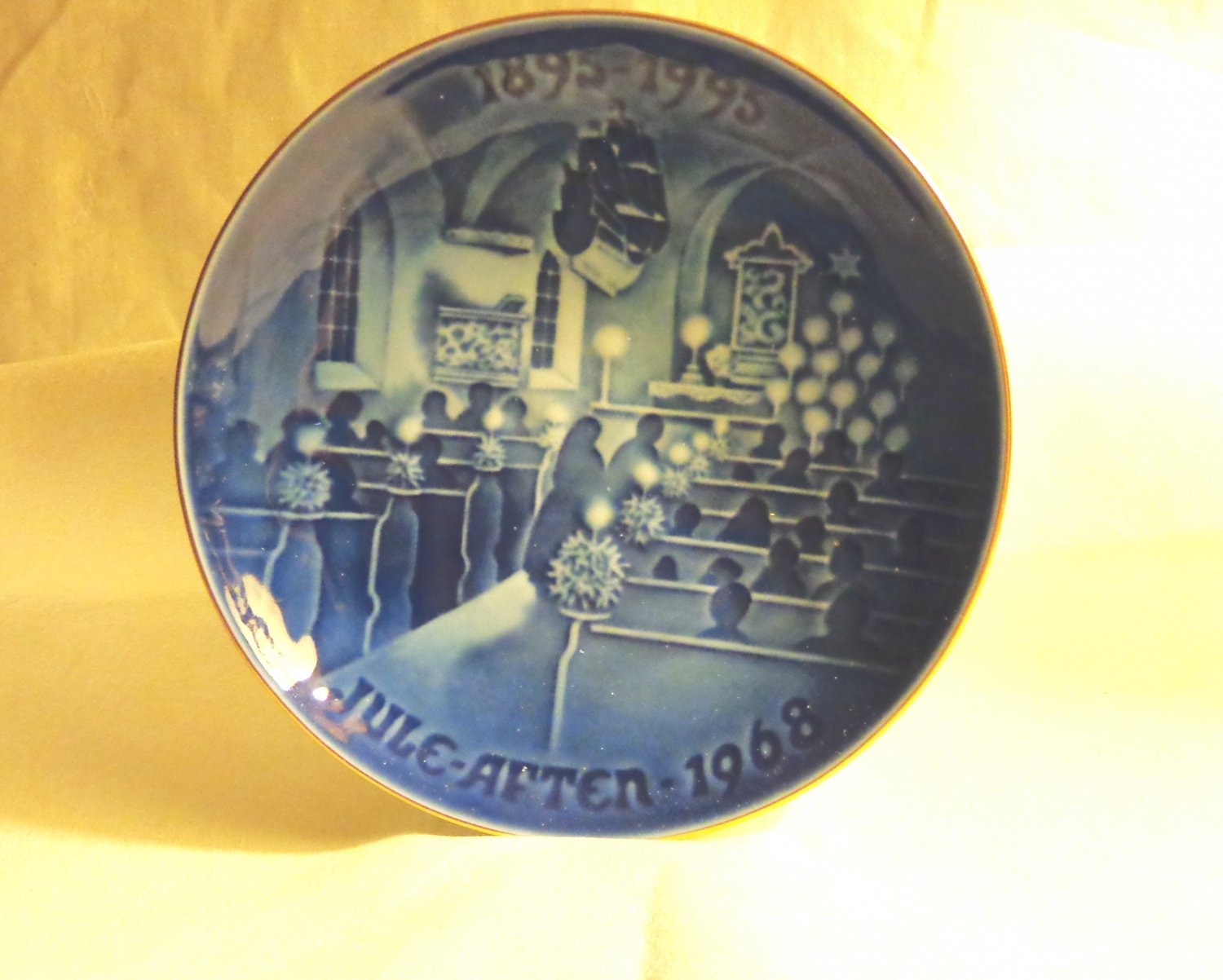 Bing and Grondahl 1968 100th anniversary plate Christmas Eve in Church BG porcelain hc3404