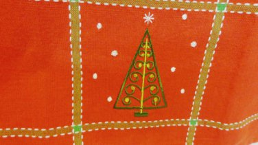 Christmas tree embroidered tea towel cotton loop hanger red hc3371