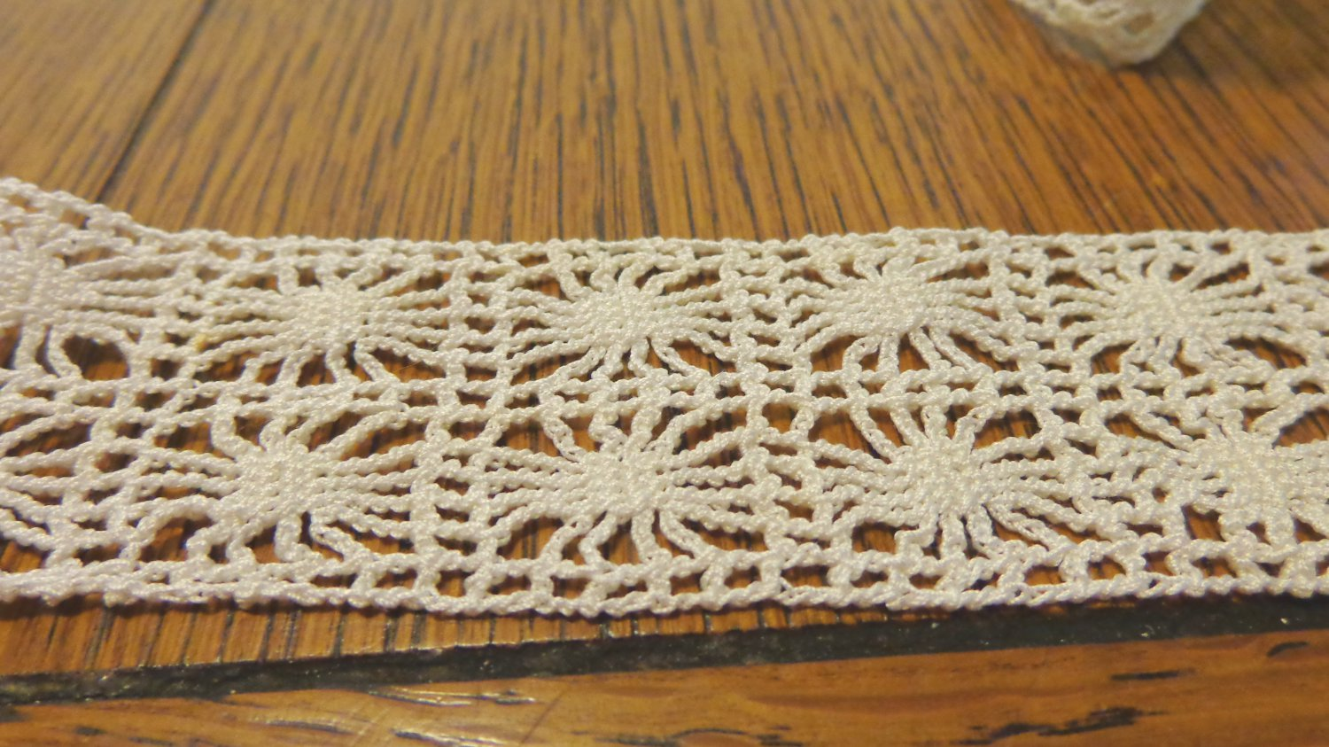Hand crocheted lace trim white 48 inches long 1.4 inch wide hc3419