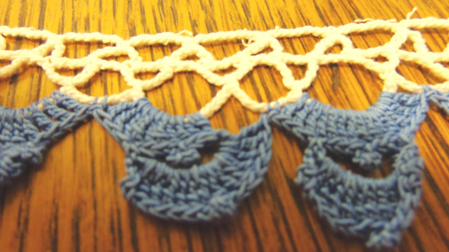 Crocheted lace trim hand made blue and white 76 inches long 1.25 inch wide hc3421