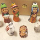 Miniature nativity clay 8 pieces primitive handmade in Peru boxed set vintage hc3424