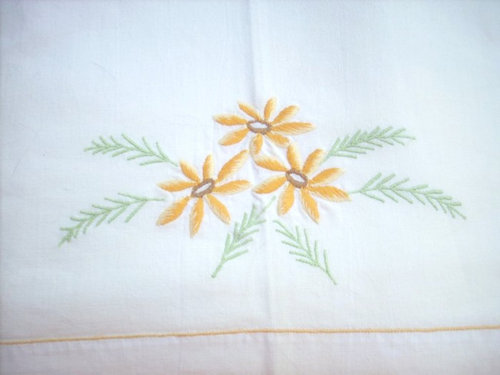 Large white cotton sheet embroidered hem vintage linens  hc1686