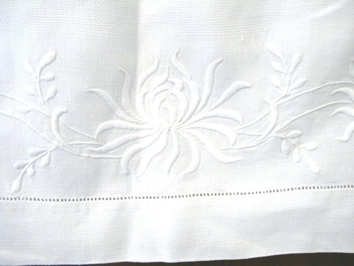 Large linen towel whitework embroidery threadwork hem antique linens hc2121