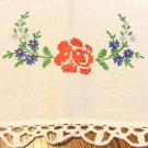 Hand embroidered dresser scarf or table runner floral sprays crochet lace edge large hc3431