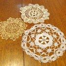 Three tiny lace doilies handmade 2 white 1 ecru white vintage hc3435