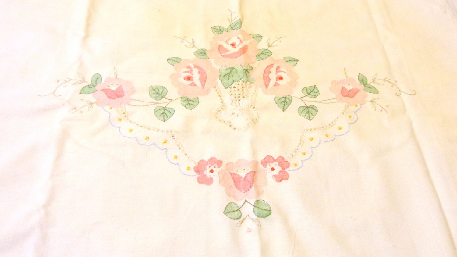 Antique pillow sham cotton vintage pink applique scalloped falange button close hc3438