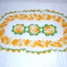 Irish crochet doily or centerpiece orange white roses vintage  hc1169