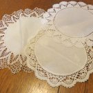 Three small lace edged doilies hand crocheted white linen and cotton centers vintage hc3440