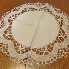 Large lace edged doily handmade bobbin lace edging ecru linen center vintage hc3441