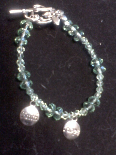 """""""Hope and Faith"""" Green Beaded Wire Bracelet"""