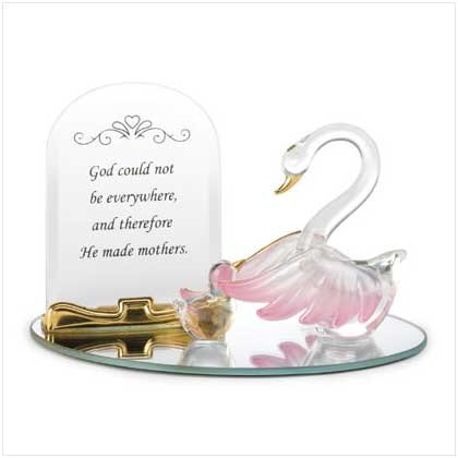 Plated Mother Swan and Baby