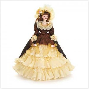 Porcelain Doll In Copper Dress