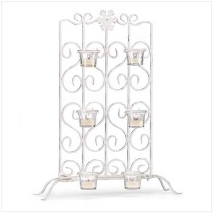 White Iron Candleholder Stand