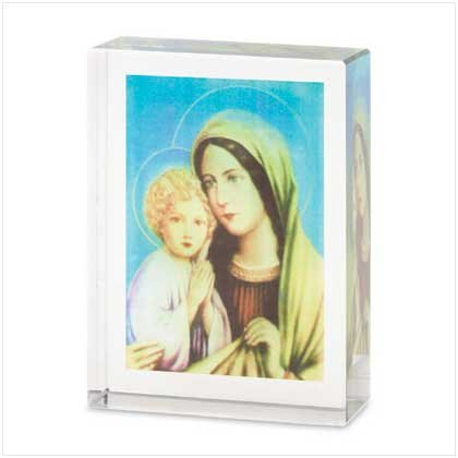 Mary and Jesus Color Glass Cube