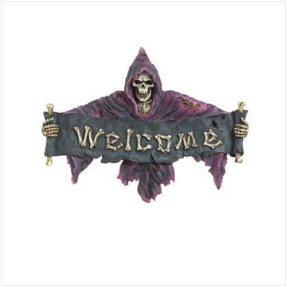 Purple Grim Reaper Welcome Plaque