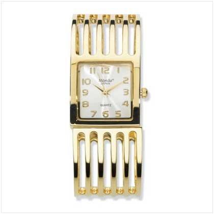 Gold Plate Cuff Bracelet Watch