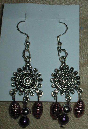 Silver and purple drop earrings