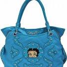 Betty Boop Blue fashion tote/rhinestones handbag w/ Wallet
