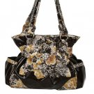 Brown LEOP/FLORAL Flower BELTED Handbag w/ Wallet