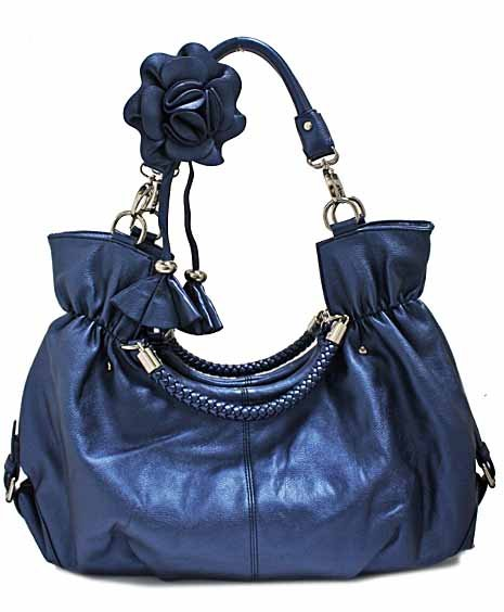 Simulated leather fashion satchel