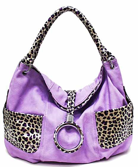 Leopard print details on simulated leather hobo