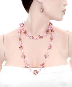 PINK SHELL FASHION NECKLACE SET WFS000511