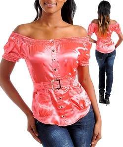 Off shoulder shirt w/ waist belt (t10056)
