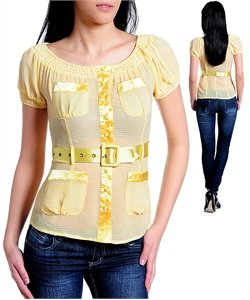 Fashion blouse w/ waist belt (cn014120)