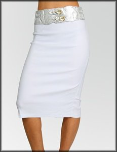 Belted Stretch Split Skirt (SJ41573)