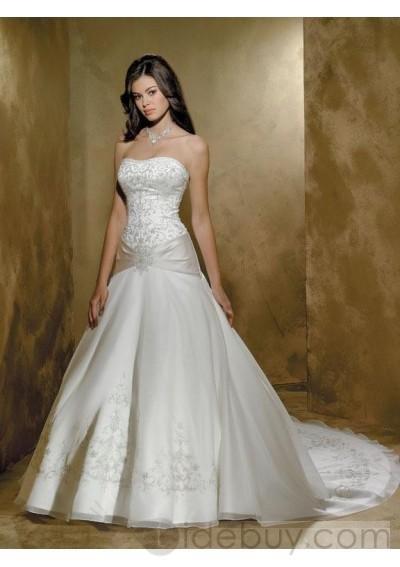 strapless Sleeveless Embroidery Organza Floor-length Chapel Train New Wedding Dress { 00208497}