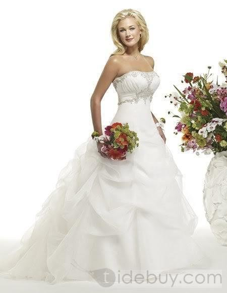 Strapless Chapel Train Satin wedding dresses(00203438)