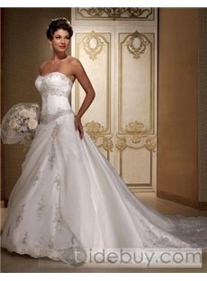Strapless Sleeveless Satin Chapel Train embroidery Wedding Dresses (00200338)