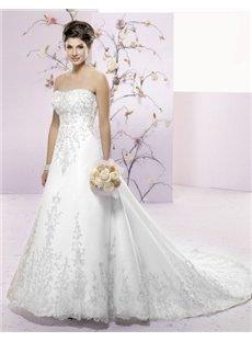 Strapless A-Line Sleeveless Chapel Train Embroidery wedding dress (00200244)