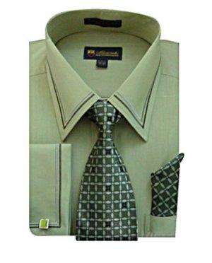 Mens Olive Green Dress Shirt Sg22olive H