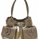 Patent fashion Beg/brown satchel