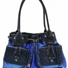 Patent fashion blue/black satchel