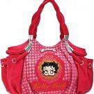 Betty Boop Fuchsia fashion braided handbag w/ matching wallet B11K-35_FU