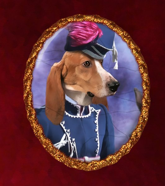 Norman Artesian Basset Jewelry Brooch Handcrafted Ceramic - Hussar Lady